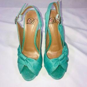 Teal platform heels